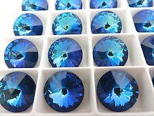 6 Ultra Marine AB Swarovski Crystal Rivoli Stone 1122 12mm