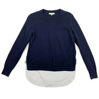 Madewell Mixed Media Sweater Size Small Womens Navy Blue with Striped Back Mixer