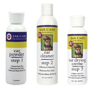Professional Grade Groomers Ear Care Dog Cat 3 Step Creme Powder & Cleanser Kit