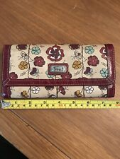 Fossil Floral Red & Tan Leather Wallet