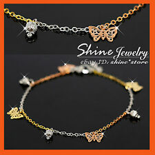 9K 3-Tone GOLD FILLED BABY BUTTERFLY JINGLE BELL CHARM KID GIFT SOLID BRACELET