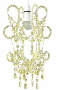 Chandelier Acrylic Jewel Wire beaded Ceiling Pendent Light Shade Hanging yellow