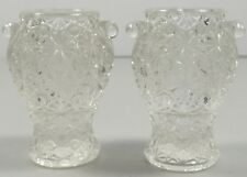 Pair Vintage Child's Toy Urn Style Vases In Daisy & Button Pattern