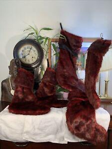 Nicole Miller Red Faux Fur Christmas Stocking SET Luxury Designer LOT Of 5 Rare
