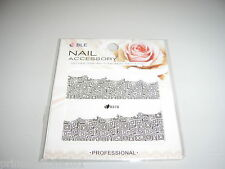 Nail Tip Art stickers water decals transfer Wrap Black Funky D378