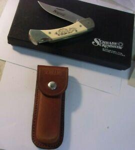Vintage Schrade SCRIMSHAW BEAR Pocketknife with leather sheath & original box