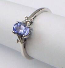 9ct 9Carat White Gold Diamond & Tanzanite Engagement / Dress Ring UK Size N 1/2