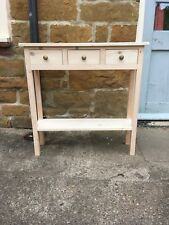 H80 W80 D22cm BESPOKE UNTREATED CONSOLE HALL TELEPHONE TABLE 3 DRAWER CHUNKY