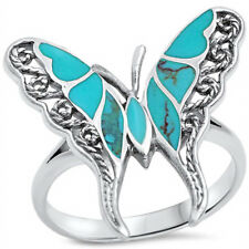 Charming Vintage tibet Silver butterfly turquoise Ring Fashion Jewelry Size 8