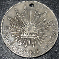 1876 Mexico 8 Reales Go FR Eagle with Snake on Cactust Silver Rare Spanish Coin