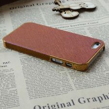 Luxury Brown Brushed Leather Aluminum Chrome Hard Case Cover For iPhone5 5S 5G