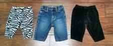 Baby Girl 3-6 Mo Pants Jeans Lot of 3 Bottoms Crazy 8 Carter's Zebra Leggings