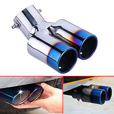 Universal Chrome Stainless Steel Car Dual Exhaust Pipe Tail Tip Muffler New