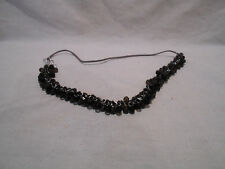 """Handmade 28"""" Necklace - Lots of Black & Gray Beads on Silver Jump Rings"""