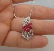 Fine 4.00ct Natural Ruby & Diamonds  Pendant White Gold  18K
