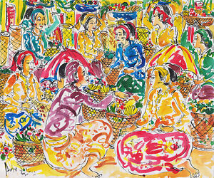 Hand painting Abstract Market Scene 273