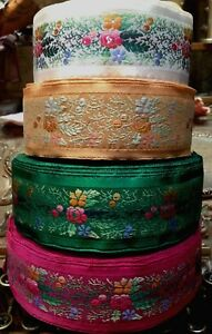 "Vintage Embroidered Jacquard Ribbon 1 3/4"" Trim Satin Edges 1yd Made in France"