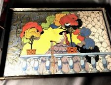 Art Deco Dresser Tray w/ Spanish Lady in a Garden Setting!  Fabulous Colors!