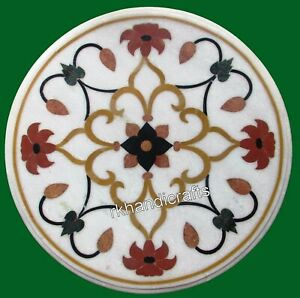 Floral Pattern Inlay Coffee Table Top Marble Bed Side Table top for Home 14 Inch