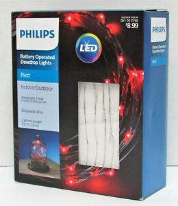 LED Battery Operated Dewdrop Lights w/Timer Philips 051042765 9.6 ft Wire Red