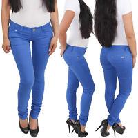 Damenhose Skinny Röhrenhose Hüfthose Stretchhose Slim Fit Hose Blau Sommer