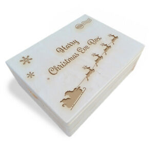 Wooden Engraved Personalised Large Christmas Eve Box,40x30x13.5 cm,Unpainted (2)