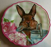 EASTER Heavy Duty Melamine Plate 11 inches SPRING BUNNY RABBIT W/ WATERING CAN
