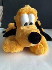 Disney World Pluto Plush Floppy Laying Down Green Collar Stuffed Animal
