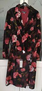 ANGELO MARANI DESIGNER RED FLORAL VELVET JACKET SKIRT SUIT UK 14/16 NEW STUNNING