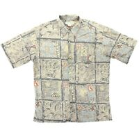 Tori Richard Men Medium 44 Tribal Hawaiian Short Sleeve Button Shirt Cotton Lawn