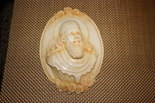 Vintage Religious Wall Plaque-Bishop Priest Saint-Religious Man Head Scarf Beard
