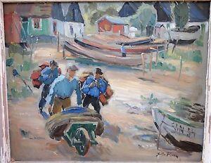 Fisherman Carrying Gear, Gottfrid Olsson (1890-1979) Listed Swedish Artist
