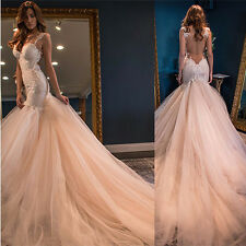 Meerjungfrau Spitze Tüll Hochzeitskleid Abendkleid Ballkleid Brautkleider custom