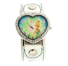 Disney Tinker Bell Wrist Watch Heart  Rhinestone White Band