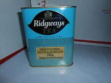 RARE VTG RIDGWAYS LITHO TEA TIN CAN EMPTY 1 POUND H.M QUEEN ELIZABETH II ENGLAND