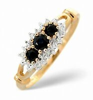 Sapphire and Diamond Three Stone Ring Yellow Gold Trilogy Certificate