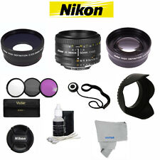 Nikon Nikkor 50mm F/1.8 AF Lens +ACCESSORY KIT FOR NIKON D3000 D3100 D3200 D90