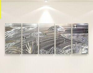Modern Metal Wall Art 5 Panels Etched Silver Tropical Ocean Decor by Jon Allen