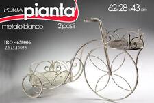 BICICLETTA H43*62 BICI PORTA VASO PIANTA ESTERNO INTERNO METALLO BIANCO 658006