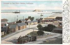 Entrance to San Pedro Harbor, California Trains, Railroad 1906 Vintage Postcard
