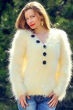 Sexy ivory mohair sweater white fuzzy V neck summer handknit top SUPERTANYA SALE