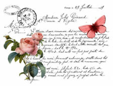 Vintage French Butterfly Rose Label Furniture Transfers Waterslide Decals MIS609