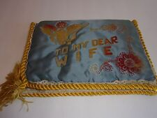 LOVELY VINTAGE WWII WIFE HANKIE LETTER HOLDER POUCH SATIN LACE  HEART FELT POEM
