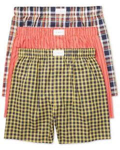 Tommy Hilfiger 3-Pack Mens Woven Cotton Boxer Shorts Orange/Navy/Yellow Assorted