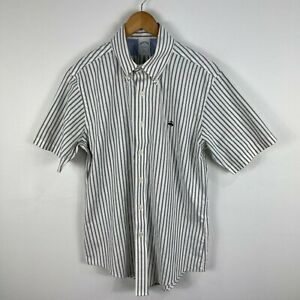 Brooks Brothers Mens Button Up Shirt Size M White Striped Short Sleeve 17.10