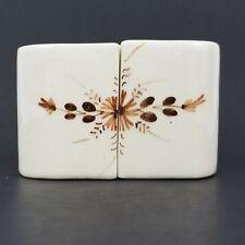 Vintage Ceramic Salt & Pepper Shaker Set, Brown Floral Hand Painted Desing, Oval