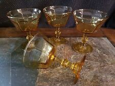 "4 Amber Champagne/Sherbet Goblets Glasses Unkown Maker 4 5/8"" UNK542"