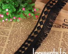 Home Garment Craft Sewing Accessory Fringe Tassel Cotton Tool Trims Beige Black