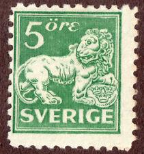 Sweden,  126, Heraldic Lion Issues 5 ore Green M H OG
