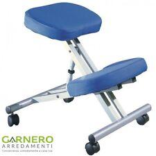 Sgabello ergonomico ROGER blu tipo Berger regolabile per ufficio studio